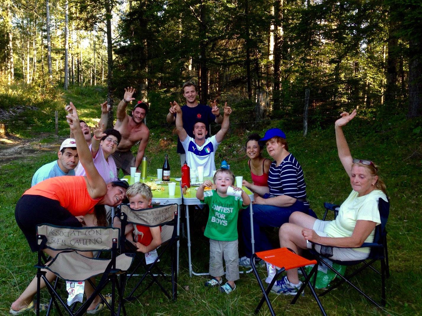 Tous ensemble lors du camp 2015 de l'association Buen Camino
